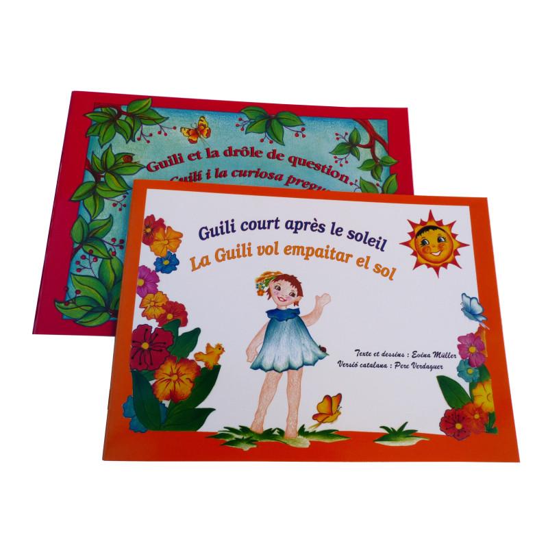 """Lot de deux albums illustrés, bilingues, français-catalan : """"Guili court après le soleil & Guili et la drôle de question""""."""