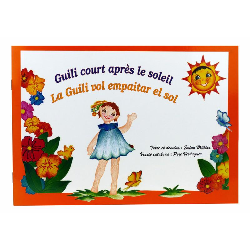 """Album illustré """"Guili court après le soleil"""" ~ """"La Guilí vol empaitar el sol"""" (première de couverture)"""