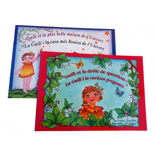 "Lot de deux albums richement illustrés ""Guili et la drôle de question & Guili et la plus belle maison de l'Univers""."