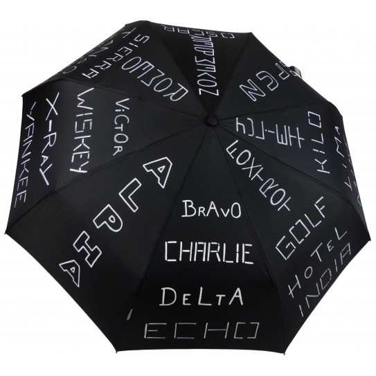 "Parapluie Epsilon ""X-Ray"" illustré du célèbre Alphabet International de l'OTAN."